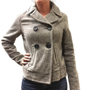 GAP Wool Double Breasted Cropped Pea Coat Gray S